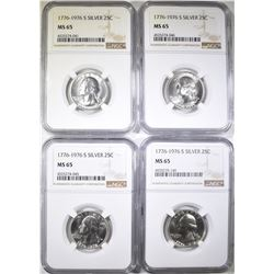 4-1976-S SILVER WASHINGTON QUARTERS, NGC MS-65