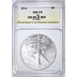 2014 SILVER EAGLE, OBCS PERFECT GEM BU