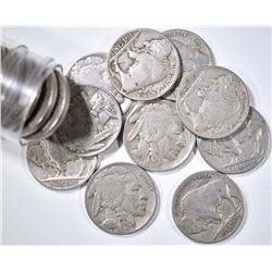 ROLL OF 1938-D BUFFALO NICKELS, FINE OR BETTER