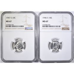 1946-S & 47-S ROOSEVELT DIMES, NGC MS-67