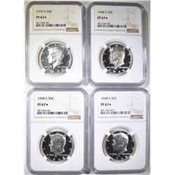 3-1968-S, 1-70-S KENNEDY HALVES, NGC PF-67*