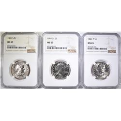 1981-P-D&S S.B.A. DOLLARS, NGC MS-65