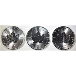 3-GEM BU 2014 1oz SILVER CANADA MAPLE LEAF COINS