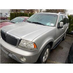 2003 LINCOLN AVIATOR, 4DR SUV, GREY, VIN # 5LMEU78H63ZJ52547