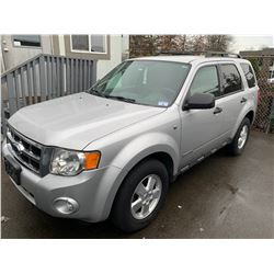 2008 FORD ESCAPE, GREY, 4DRSW, GAS, AUTOMATIC, VIN#1FMCU93148KC96890, 149,221KMS,