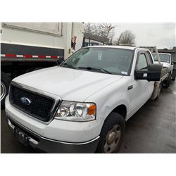 2007 FORD F150 XL, 5.4 TRITON V8, WHITE, GAS, AUTOMATIC, VIN#1FTVX12527NA81709, 81,891KMS,