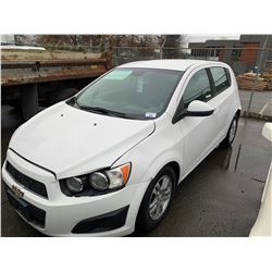 2012 CHEVROLET SONIC, WHITE, HATCHBACK, GAS, AUTOMATIC, VIN#1G1JA6EH5C4134821, 180,434KMS,