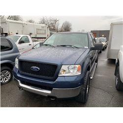 2005 FORD F-150, 4DR PU, BLUE, VIN # 1FTPW14505KE11807