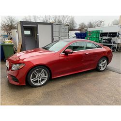 2018 MERCEDES BENZ E400, RED, COUPE, GAS, AUTOMATIC, VIN#WDD1J6FB5JF024389, 9,236 MILES, *US TITLE,