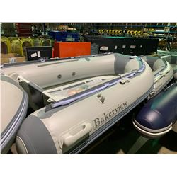 BAKERVIEW BOATS ALU-240D GREY / LIGHT GREY 8' FLAT FLOOR, 4 PERSON, 9.8 HP MAX PVC INFLATABLE,