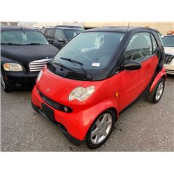 2005 SMART FORTWO, 2DR HATCH, RED, VIN # WMEAJ00F05J177463