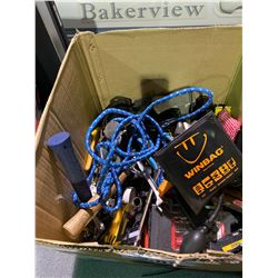 BOX OF ASSORTED TOOLS & CONTENTS