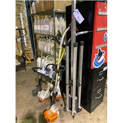 LOT OF ASSORTED GAS TRIMMERS & METAL FOLDING STAND