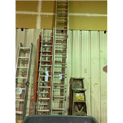LOT OF 2 WOODEN PAINT LADDERS & 12 STEP LADDER