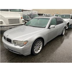 2004 BMW 745LI, GREY, 4DRSD, GAS, AUTOMATIC, VIN#WBAGN63554DS54986, 95,635 MILES, OOC,