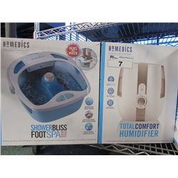 HOMEDICS TOTAL COMFORT HUMIDIFIER & SHOWER BLISS FOOT SPA