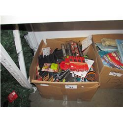 LARGE BOX LOT ASSORTED HOUSEHOLD ITEMS AND ACCESSORIES