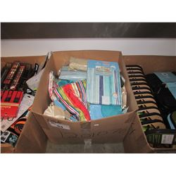 BOX LOT ASSORTED HOUSEHOLD ITEMS AND ACCESSORIES (SHOWER CURTAINS, COASTERS, ETC)