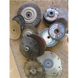 LOT OF MISC SHOP ITEMS (SAW BLADES, GRINDING WHEELS, BRUSH WHEELS, ETC)