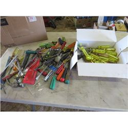 LOT OF MISC TOOLS (SCREWDRIVERS OF ALL SIZES, SPADE BIT SET, ETC)