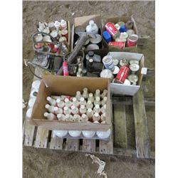 LOT OF SHOP FLUIDS (TRANSMISSION FLUID, GAS LINE ANTI-FREEZE, FUEL ADDITIVE, ETC)
