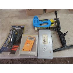 MASTERCRAFT DRILL & BIT SET, NAIL MASTER NAIL GUN, SAW SET, POWERMATE DRIVE SOCKET WRENCH SET.