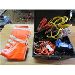 CAR KIT (BOOSTER CABLES, TIE DOWNS, SAFETY VEST, MATCHES, 12V AIR COMPRESSOR, ETC)