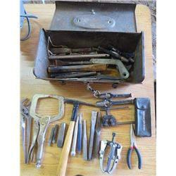 METAL TOOL BOX (WITH TOOLS; GEAR PULLER, LETTER PUNCHES, PLIERS, ETC)