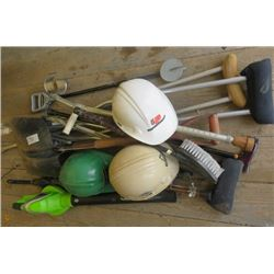 LOT OF MISC ITEMS ( 3 X HARD HATS, LEAF BLOWER, UMBRELLA, CRUTCHES, METAL SHOVEL, ETC)