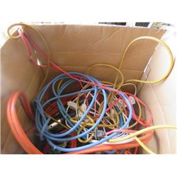 LOT OF ELECTRICAL ITEMS (BOOSTER CABLES, ELECTRICAL CORDS, FAN, FLASHLIGHTS, ETC)