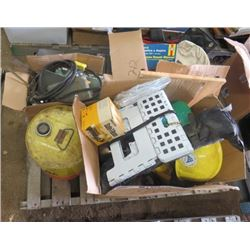 LOT OF MISC ITEMS (HARD HATS, STEREO, 20L KEROSENE JUG-FULL, HEAD LIGHTS, CAR MANUALS, ETC)