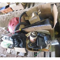 LOT OF SHOP ITEMS (SHOP VAC, STRAPS, DRILLS, PLUMBING ACCESSORIES, MISC TOOLS)