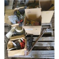 LOT OF MISC SHOP ITEMS (TOW STRAP, LEVELS, METAL GRINDING DISCS, PLUMBING ITEMS, CAR JACK, DESK LAMP