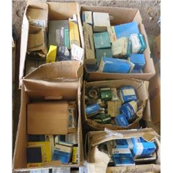 LOT OF AUTO SUPPLIES (PISTONS, FUEL PUMPS, BALL JOINTS, FORD SERVICE PARTS, ETC)