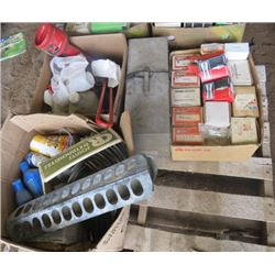 LOT OF ASSORTED ITEMS (ELECTRIC HEATER, SPARK PLUGS, CHAINS, ANTI FRICTION OIL, ETC)