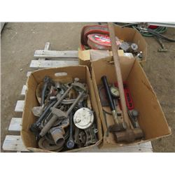 LOT OF MISC ITEMS (AIR FILTERS, WATER PUMP, SLEDGE HAMMERS, ETC)