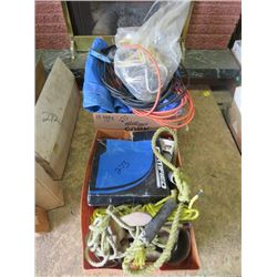 LOT OF MISC ITEMS (TARPS, EXTENSION CORDS, TOW ROPES, ETC)