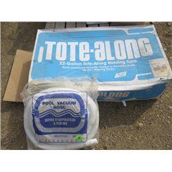 22 GALLON TOTE ALONG WATER TANK AND POD VACUUM HOSE (NOS)