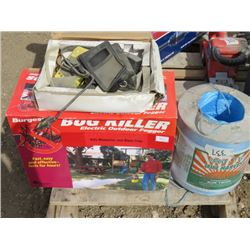 LOT OF MISC YARD ITEMS (FULL ROLL OF BAILER TWINE, MULTI-GAS MONITOR AND ELECTRIC OUTDOOR BUG FOGGER