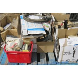 LOT OF MISC SHOP SUPPLIES (SCREWS, NAILS, ELECTRICAL ITEMS, FLOORING VINYL, ETC)