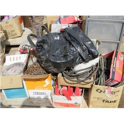 LOT OF MISC SHOP ITEMS (5 DRAWER RUBBERMAID CONTAINER, TRAILOR LIGHTS, BOX OF SMALL SAFETY CONES, CH