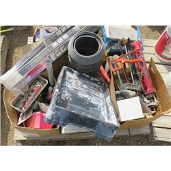 LOT OF HOUSE SUPPLIES (LAWN EDGING, DOOR SWEEPS X 4, ETC)