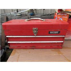 METAL TOOL BOX & BOX OF MISC