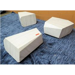"Qty 3 Stone Abstract Seats 14""H"