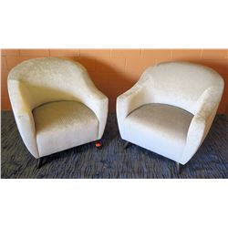 "Qty 2 Upholstered Cream Colored Club Chairs (34""W arm to arm)"