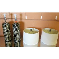 Qty 2 Surya Geometric Lamps w/ Shades (30 H to top of lamp shades)