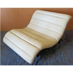 "Cream Upholstered Curved Lounge Chair 55""W"