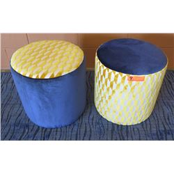 Qty 2 Round Blu Dot Upholstered Stools 17  Dia, 17 H