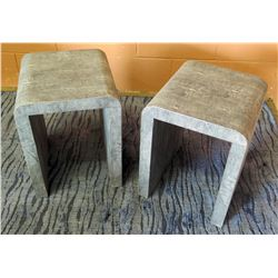 "Pair of Grey Modern Side Tables 14""L x 12""W x 16""H"