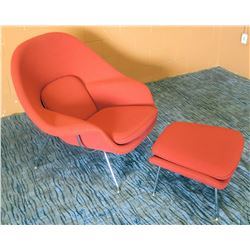 "Knoll Upholstered Red Chair w/ Matching Ottoman 41""W"